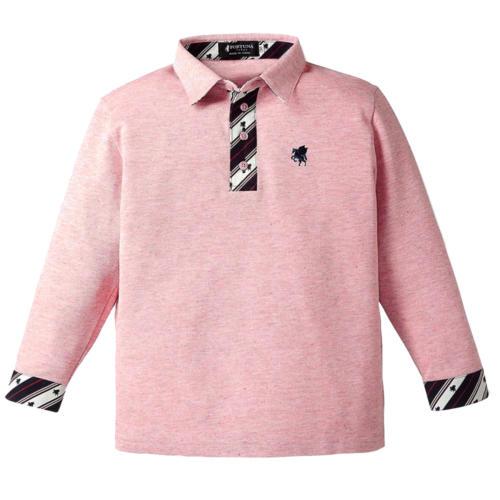 13. ミラクル(ペガサス柄)ベビー キッズ オーガニックコットン ポロシャツ 長袖(ピンク)【出産祝い】