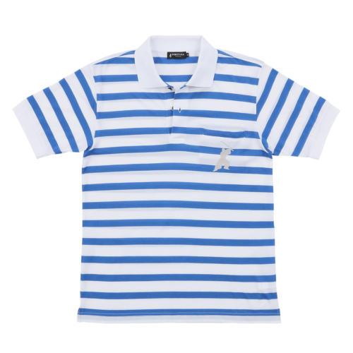 2016SS 16. サムライ 侍柄 ボーダー ポロシャツ 半袖(ブルー)
