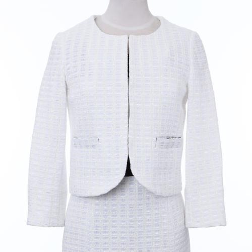 【限定品】イタリア製 (ラッセルニット)ツイードジャケット ホワイト