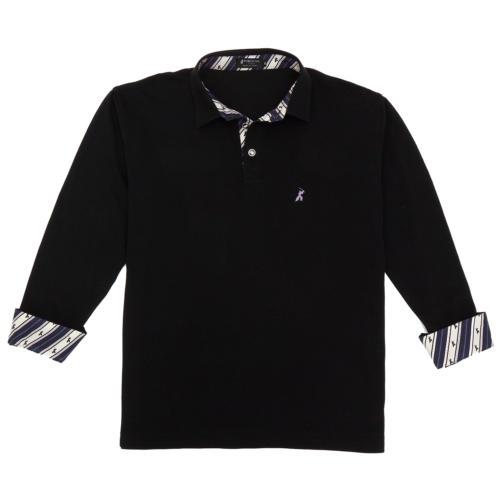 16. サムライ 侍柄 (ブラック)ポロシャツ 長袖