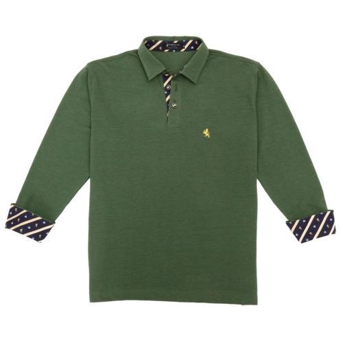 08. キング(グリーン)ライオン・王冠柄 ポロシャツ 長袖